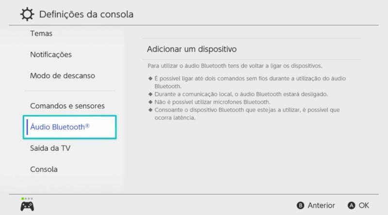 Atualização da Nintendo Switch adiciona compatibilidade com dispositivos de áudio por Bluetooth